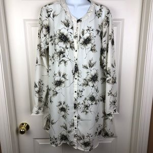 Como Vintage Sheer White Floral Button Up Tunic L